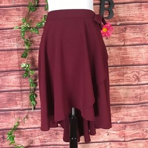 Express Skirt 8 Burgundy Crepe High Low A Line